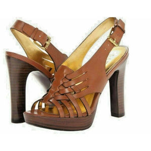 LAUREN RALPH LAUREN Shaina Tan Leather Sandal NIB!